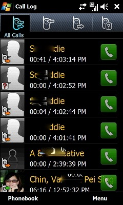 Omnia II - Call Log